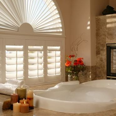 Orlando bathroom plantation shutters.