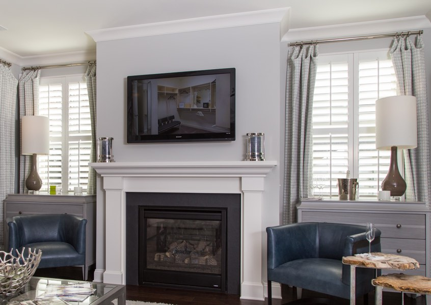 tv room Orlando faux wood shutters