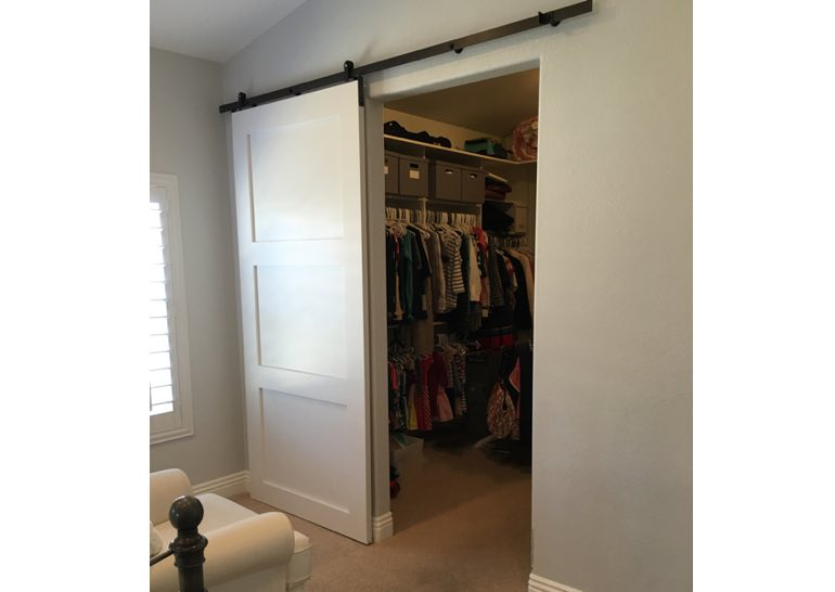 White closet sliding barn door