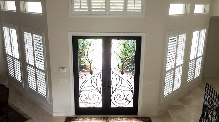 Orlando foyer with glass doors and interior shutters