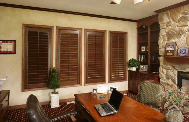 Wooden plantation shutters in a Orlando home office