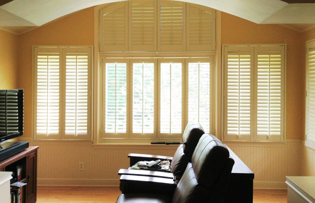 Orlando plantation shutters in tv room
