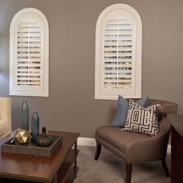 Orlando family room plantation shutters.