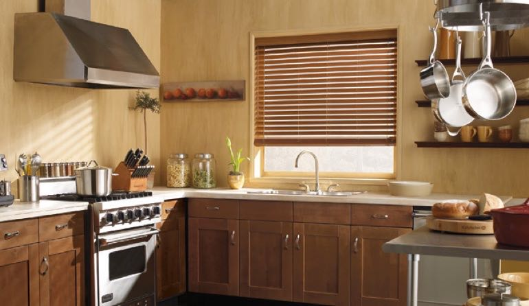 Orlando kitchen faux wood blinds.