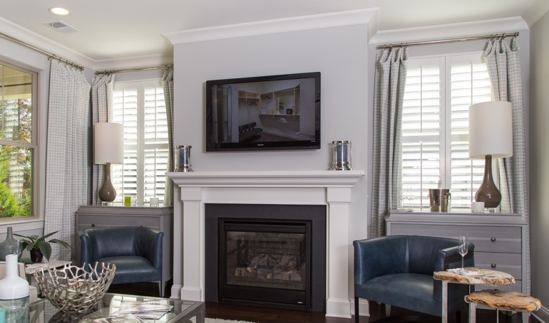 Orlando fireplace with plantation shutters.
