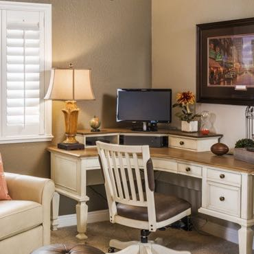 Orlando home office interior shutters.