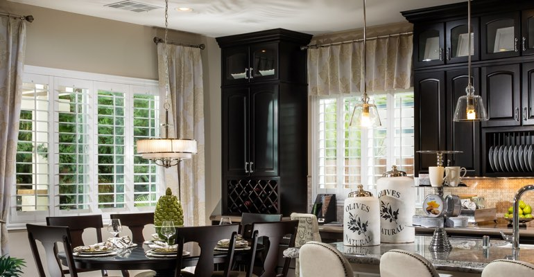 Orlando kitchen dining room with plantation shutters.