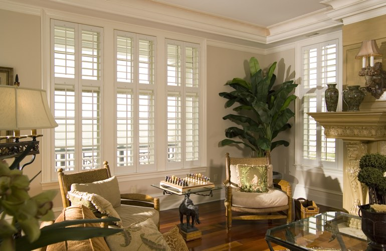 Living Room in Orlando with interior plantation shutters.