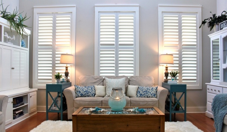 Orlando modern sunroom with chic shutters