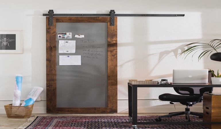 Orlando home office barn door