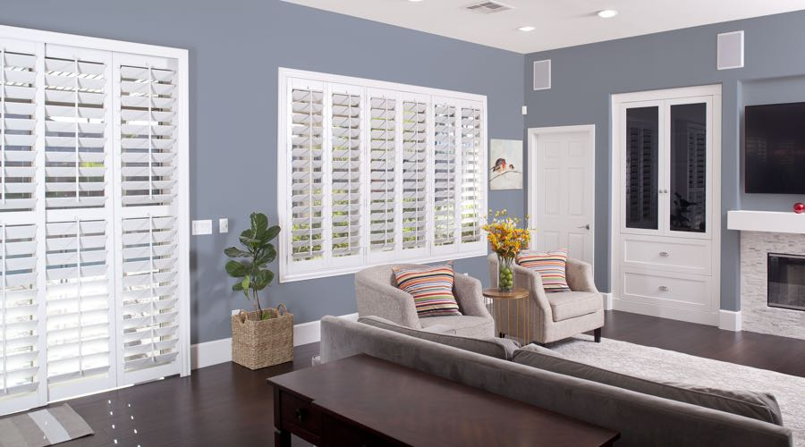 Faux Wood Shutters In modern Orlando Living Room