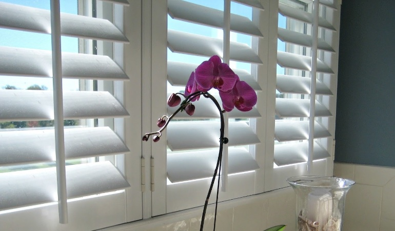 Faux wood plantation shutters in Orlando