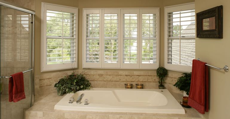 Plantation shutters in Orlando bathroom.