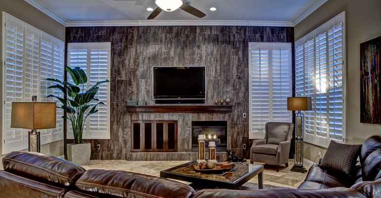 Orlando living room with shutters