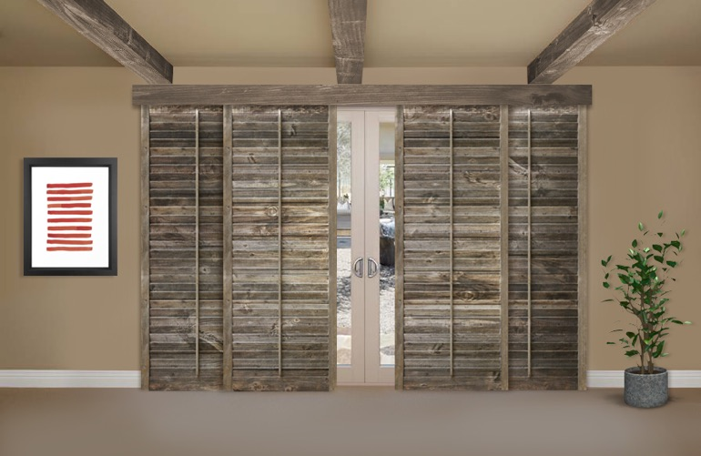Reclaimed Wood Shutters On A Sliding Glass Door In Orlando