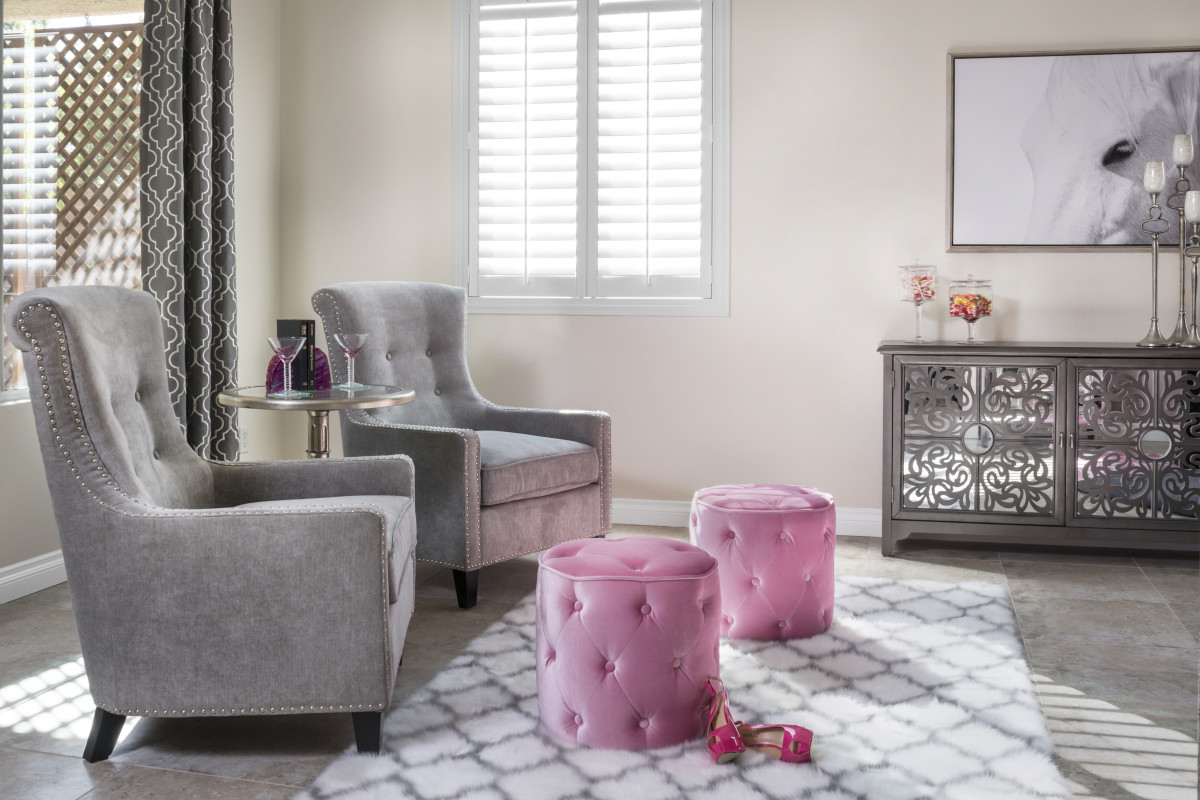Orlando pink living room with shutters