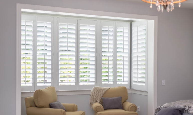 Plantation shutters in Orlando bedroom