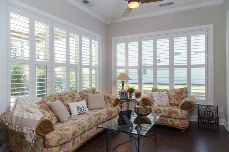Sunroom with interior shutters in Orlando.