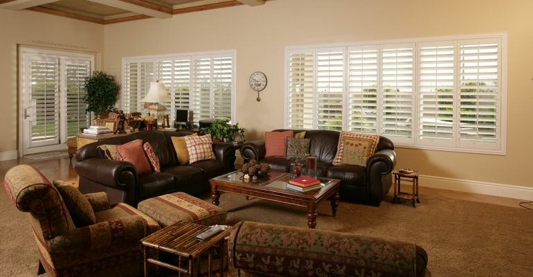 Orlando basement with white shutters.