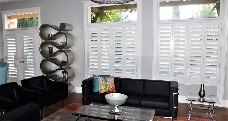 Orlando DIY shutters in living room.