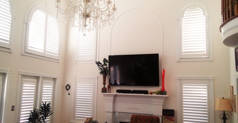 high ceiling windows with shutters Orlando great room