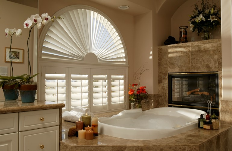 Our Specialists Installed Shutters On A Sunburst Arch Window In Orlando, FL